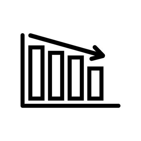 Financial decline decreasing bar chart simple vector symbol. EPS vector icon.