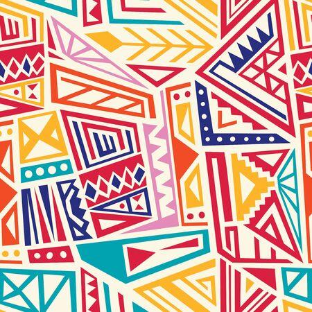 Indigenous pattern fashion print design. Seamless Inca empire style art. Vector illustration texture.