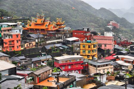 Landmarks of Taiwan. Townscape view of Jiufen town.