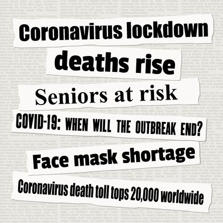 Coronavirus pandemic crisis newspaper titles. COVID-19 global epidemic. News headline collection vector. Illusztráció