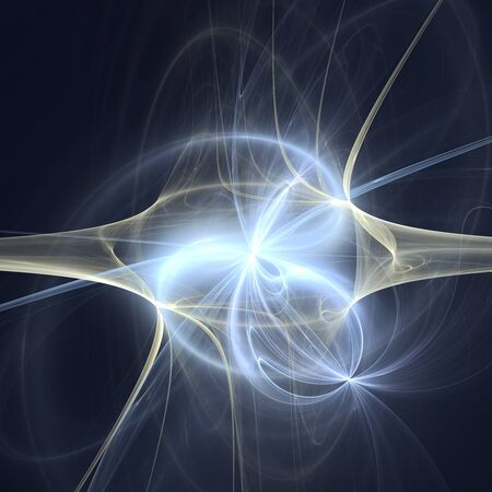 Blue light background. Abstract space rays fractal.