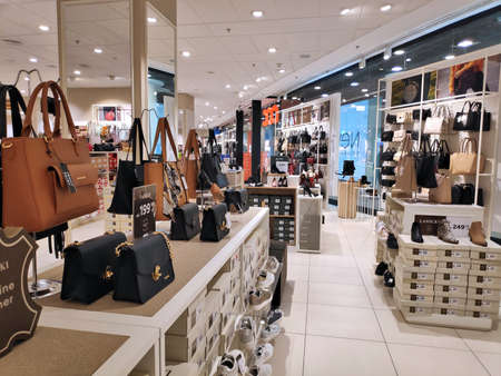 KATOWICE, POLAND - FEBRUARY 15, 2020: CCC shoe and leather goods store shelves in Katowice, Silesia region, Poland. CCC is one of largest shoe retailers in Poland with 1219 shops. Publikacyjne