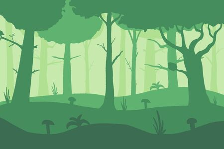 Vector misty forest background. Forest layers nature illustration.