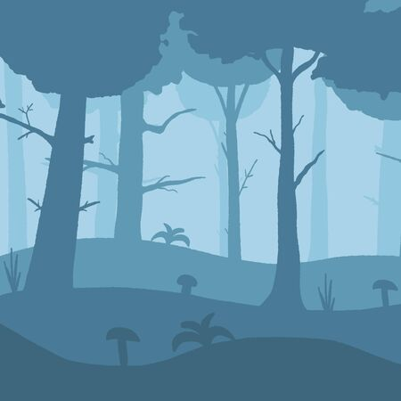 Misty forest background. Forest layers nature vector illustration.