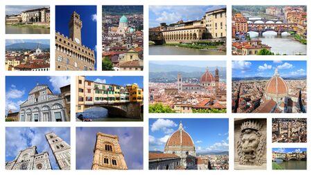 Florence photos collage - Italy town landmark postcard collection.