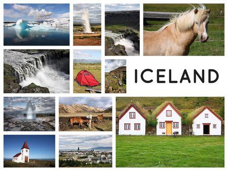 Iceland postcard - travel place landmark photo collage. Archivio Fotografico