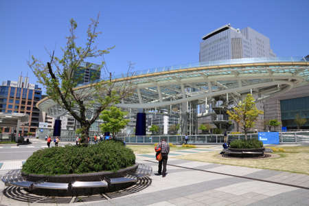 NAGOYA, JAPAN - APRIL 28, 2012: People visit Oasis 21 bus station and shopping centre in Nagoya, Japan. Nagoya is the 4th largest city in Japan with population of 2.28 million.
