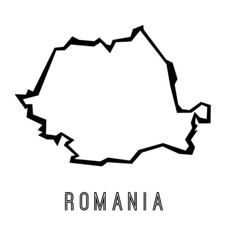 Romania simple vector map outline - country shape sharp polygonal geometric style vector.