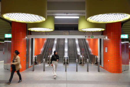 NUREMBERG, GERMANY - MAY 6, 2018: Subway station of local transportation VAG in Nuremberg, Germany. Nuremberg is located in Middle Franconia. 511,628 people live here.