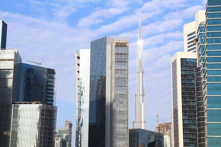 Skyline of Business Bay in Dubai, United Arab Emirates.