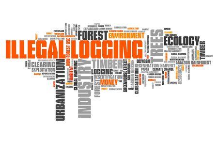 Illegal logging word cloud. Environmental crime concept. Фото со стока