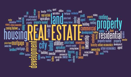 Real estate concept. Real estate word cloud sign.