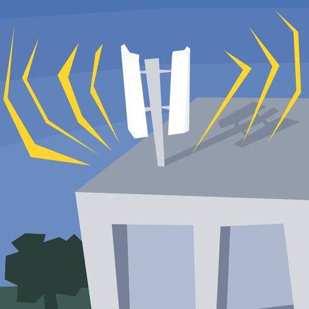 Building top telecommunications antenna. Mobile phone operator transmitter. Modern polygon style illustration.