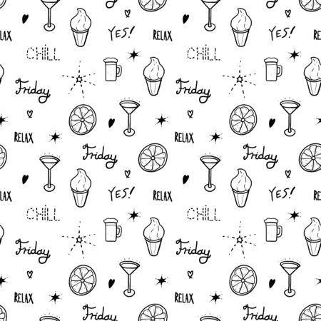 Weekend fashion pattern. Seamless vector texture - doodle style textile design.