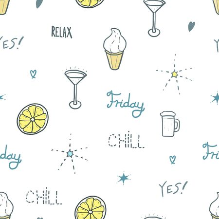 Weekend fashion pattern. Seamless vector texture - doodle style textile design. Vettoriali