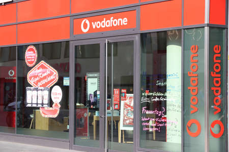 DRESDEN, GERMANY - MAY 10, 2018: Vodafone mobile phone shop in Dresden, Germany. Vodafone is the largest mobile phone operator in Germany.