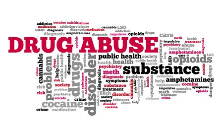 Drug abuse word cloud collage. Drug addiction concepts text cloud. Stok Fotoğraf