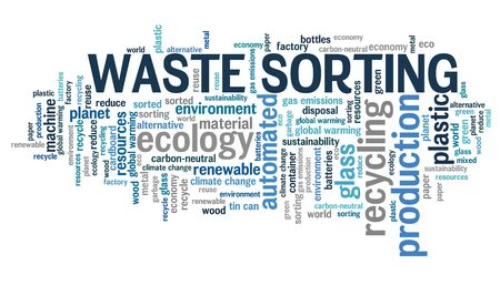 Waste sorting concept word cloud collage. Trash sorting sign. Stok Fotoğraf