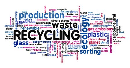 Recycling word cloud. Recycling and waste sorting concept.