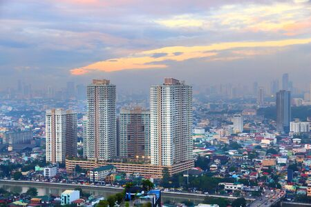 Manila city, Philippines. Residential buildings of Mandaluyong - Hulo district.