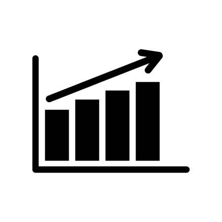 Financial growth increasing bar chart simple vector symbol. EPS vector icon.