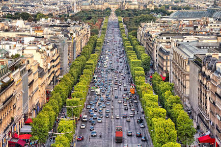 Paris, France - aerial city view with Champs Elysees avenue.
