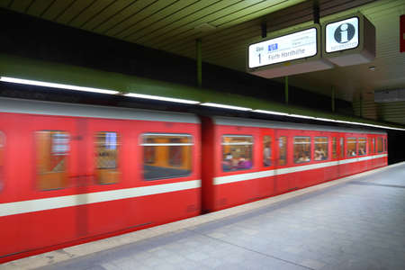 NUREMBERG, GERMANY - MAY 6, 2018: Red subway train by VAG in Nuremberg, Germany. Nuremberg is located in Middle Franconia. 511,628 people live here. Editorial