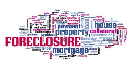 Home foreclosure concept. Real estate issues: foreclosure word cloud sign. Stock fotó