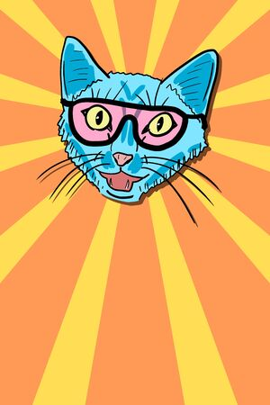 Space cat in sunglasses - cool cat meme with copy space.