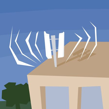 Mobile communications antenna on top of residential building. 5G transmission. Quirky polygon style illustration.