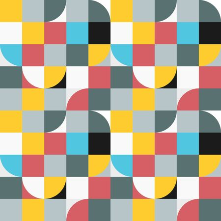 Simple geometric tiles vector texture. Nordic style colorful seamless tiles. Stock fotó - 149451113