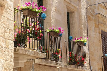 Italy - Polignano a Mare. Beautiful flowery balconies in Italy. Petunia flowers.