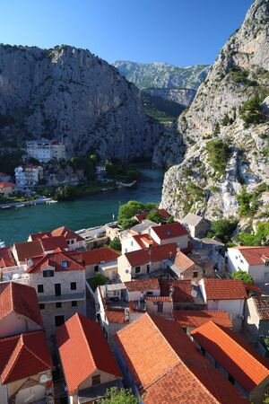 Omis. Old Town in Croatia. Landmark architecture aerial view.
