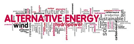 Alternative energy concept. Renewable energy sources word cloud collage.