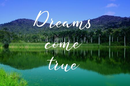 Dreams come true. Motivational quote poster. Success motivation. Imagens