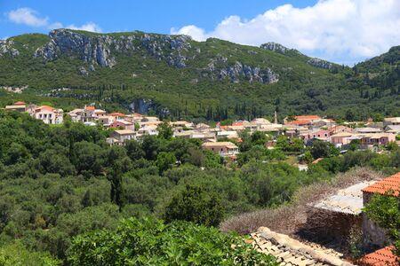 Village in Greece - Makrades village on Corfu island.