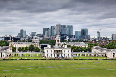 London skyline - capital city of the UK. Canary Wharf and Greenwich. UNESCO World Heritage Site.