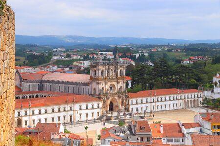 Alcobaca Monastery - medieval gothic landmark in Portugal. 免版税图像
