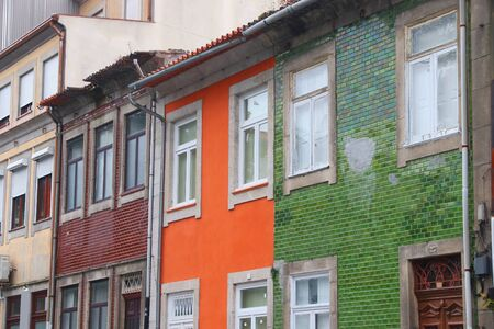 Porto city, Portugal. Colorful street view in residential area.