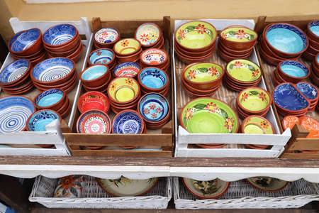 Traditional Portuguese pottery - typical handicraft souvenirs in Albufeira, Portugal.