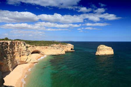 Algarve region, Portugal. Sandy beach in Lagoa - Praia da Malhada do Baraco. Portugal nature. 版權商用圖片