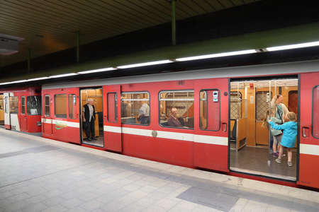 NUREMBERG, GERMANY - MAY 6, 2018: People ride subway train by VAG in Nuremberg, Germany. Nuremberg is located in Middle Franconia. 511,628 people live here. Editorial
