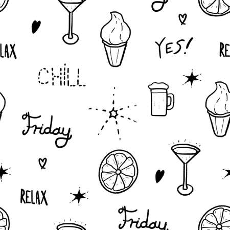Seamless pattern weekend theme. Happy Friday vector texture design.