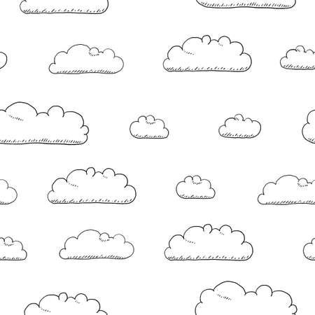 Cartoon seamless vector clouds texture. Seamless fluffy clouds textile design.