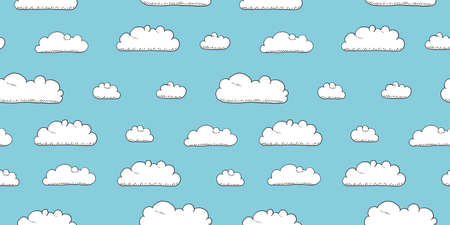 Cartoon seamless vector clouds texture. Seamless fluffy clouds textile design. Stockfoto - 151133580