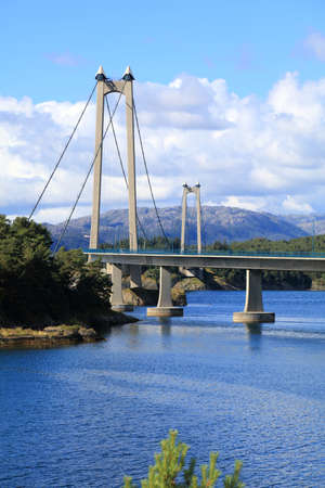 Stord Bridge (Stordabrua) in Norway. Important suspension bridge, part of Triangle Link (Trekantsambandet) connecting the islands of Bomlo and Stord with Norwegian mainland.
