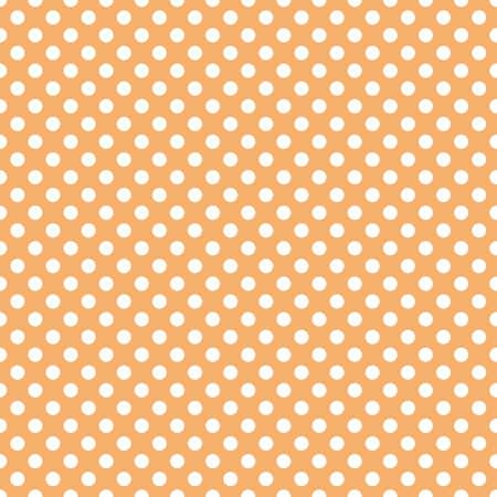 Polka dots pattern vector. Blue on orange.