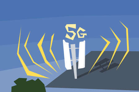 5G network telecommunications and mobile antenna on the roof of an apartment building. Quirky cartoon style illustration.