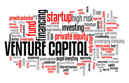 Venture capital concept. Venture investing word cloud sign.