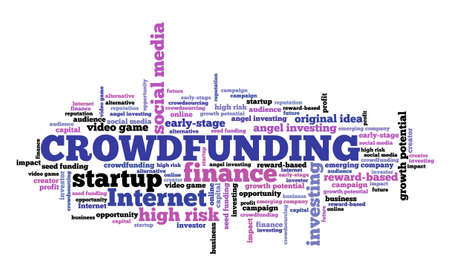 Crowdfunding concept. Crowd funding text cloud sign. Startup financing.